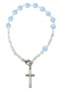 Copertina di 'Braccialetto 11 grani imitazione perla azzurro legatura metallo'