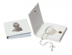 Copertina di 'Astuccio in ecopelle con placca in bilaminato di argento e corona in argento'