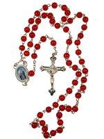 Rosario in plastica rossa + crocera Madonna