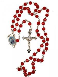 Copertina di 'Rosario in plastica rossa + crocera Madonna'