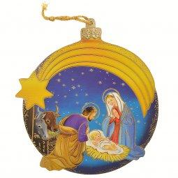 Copertina di 'Palla di Natale blu con Natività classica - dimensioni 11x10 cm'