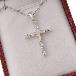 Copertina di 'Collana con croce moderna in strass e catenina in argento 925'