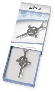 Copertina di 'Collana in acciaio inox con croce cerchiata e scatolina'
