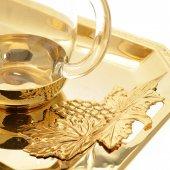 Immagine di 'Servizio ampolline in vetro con vassoio in bronzo dorato'