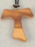 Croce in legno d'ulivo tau - altezza 3,2 cm