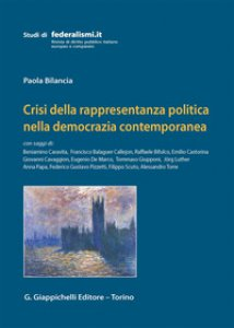 Copertina di 'Crisi della rappresentanza politica nella democrazia contemporanea'