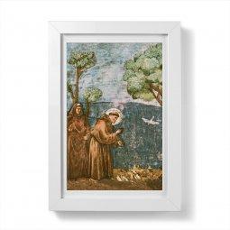 """Copertina di 'Quadretto """"San Francesco predica agli uccelli"""" con passe-partout e cornice minimal - dimensioni 15x10 cm'"""