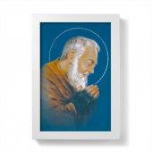"""Quadretto """"Padre Pio"""" blu con cornice minimal - dimensioni 15x10 cm"""