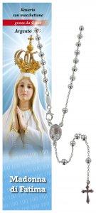 Copertina di 'Rosario Fatima in argento 925 con grani da Ø 4 mm e preghiera in italiano'