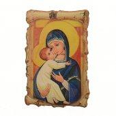 """Magnete resinato a forma di pergamena """"Maria Regina dell'amore"""""""