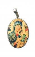 Medaglia Madonna del Perpetuo Soccorso in argento 925 e porcellana - 3 cm