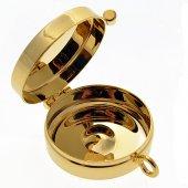 """Immagine di 'Teca eucaristica porta ostie in ottone dorato lucido """"IHS"""" - diametro 5 cm'"""