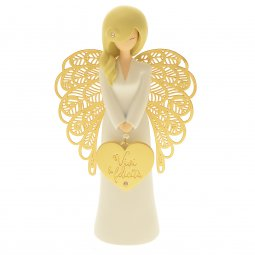 """Copertina di 'Statua in resina bianca angelo """"Felicità"""" - altezza 15 cm'"""