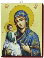 Icona Madonna Manto Azzurro dipinta a mano su legno con fondo orocm 13x16