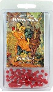 """Copertina di 'Libretto rosario """"Anno della Misericordia"""" con scatoletta e rosario'"""