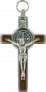 Copertina di 'Croce San Benedetto in metallo nichelato con smalto marrone - 8 cm'