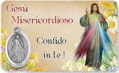 """Card plastificata """"Gesù Misericordioso"""" con medaglia"""