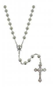 Copertina di 'Rosario in argento con grani tondi da Ø 8 mm'