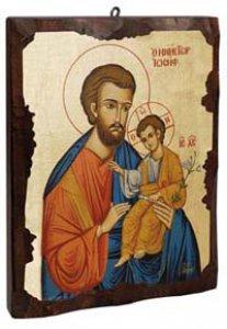 """Copertina di 'Icona in legno dipinta a mano """"San Giuseppe e il bambino"""" - dimensioni 21x16 cm'"""