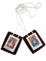 Scapolare Madonna del Carmine e Sacro Cuore di Gesù in tessuto - 4,5 x 5,5 cm