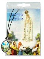 Medaglia Madonna di Fatima con laccio e preghiera in italiano