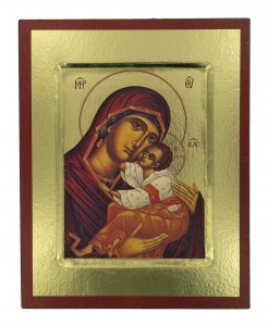 Copertina di 'Icona Madonna con manto rosso stampa su legno scavato - 24 x 19 cm'