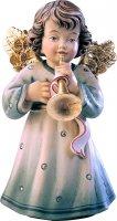 Statuina dell'angioletto con tromba, linea da 10 cm, in legno dipinto a mano, collezione Angeli Sissi - Demetz Deur