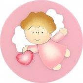 """Pala tonda rosa """"Angelo con cuore"""" cm 16"""