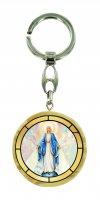 Portachiavi Madonna Miracolosa in legno ulivo con immagine serigrafata - 4 cm