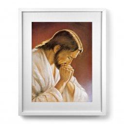 """Copertina di 'Quadro """"Cristo orante"""" con passe-partout e cornice minimal - dimensioni 53x43 cm'"""