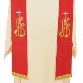 Immagine di 'Stola rossa con croce argento e cristogramma IHS dorato'