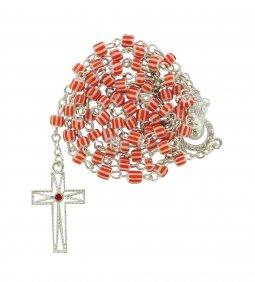 Copertina di 'Rosario vetro rigato mm. 5 rosso'
