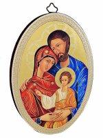 """Icona ovale """" Sacra Famiglia"""" bizantina - 14,5 x 10,5 cm"""