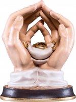 Mani protettrici con fedi nuziali - Demetz - Deur - Statua in legno dipinta a mano. Altezza pari a 11 cm.