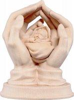 Mani protettrici con neonato - Demetz - Deur - Statua in legno dipinta a mano. Altezza pari a 16 cm.