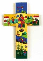 """Croce in legno """"Cristo nella comunità, la Chiesa"""" - altezza 25 cm"""