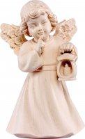 Statuina dell'angioletto con lanterna, linea da 10 cm, in legno naturale, collezione Angeli Sissi - Demetz Deur
