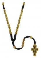 Rosario con croce di S. Damiano in legno d'ulivo e grani ovali