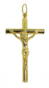Copertina di 'Croce tondino con Cristo riportato in metallo dorato - 3,5 cm'