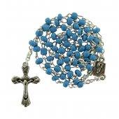 Rosario perlina azzurra mm.4 con confezione trasparente a forma di caramella