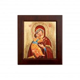 """Copertina di 'Icona bizantina in legno e sfondo oro """"Madonna col Bambino"""" - dimensioni 14,5x16 cm'"""