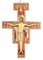 Crocifisso San Damiano da parete stampa su legno - 23,5 x 17 cm