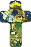 Crocifisso per bambini raffigurante il presepe - 12 x 18 cm (Soggetto 2)
