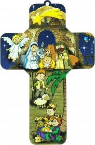 Copertina di 'Crocifisso per bambini raffigurante il presepe - 12 x 18 cm (Soggetto 2)'
