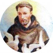 Immagine di 'Medaglia San Francesco tonda in argento 925 e porcellana - 1,8 cm'