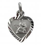 Medaglia Angelo Custode in argento 925 a forma di cuore - 1,4 cm