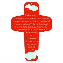 """Copertina di 'Croce rossa """"Padre Nostro"""" - altezza 13 cm'"""