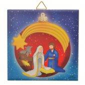 """Piastrellina blu """"Natività con palla di Natale rossa"""" per bambini - dimensioni 10x10 cm"""