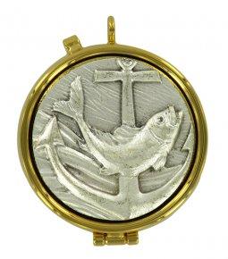 Copertina di 'Teca eucaristica ostie con placca in peltro Pesce - Ø 5,4 cm'