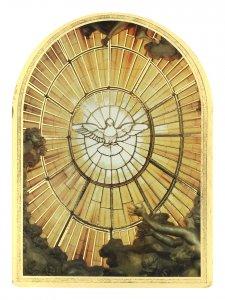 """Copertina di 'Icona arcata """"Cresima"""" in legno massello e lamina oro (cm 12 x 8,5 x 1,8)'"""